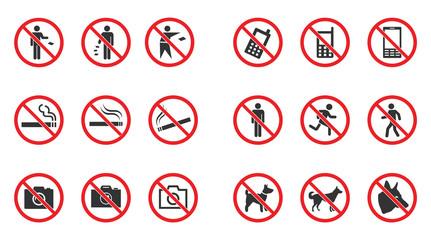 Prohibition sign set - no smoke, no dogs allowed, no photo etc