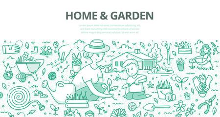 Home & Garden Doodle Concept