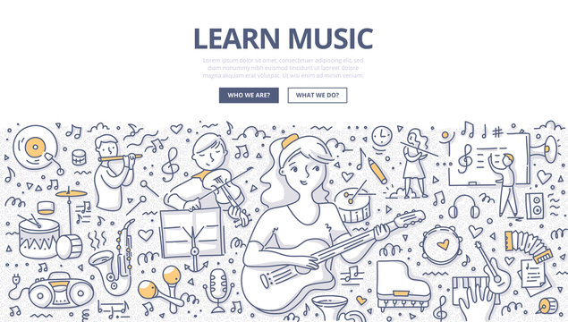 Learn Music Doodle Concept