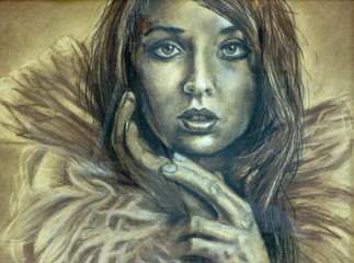 Women's beautiful look. Abstract young tender girl - pastel painting handmade on paper. Eye-catching hypnotic look