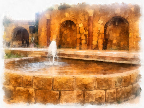 Traditional fountain in a Syrian house. illustratrion