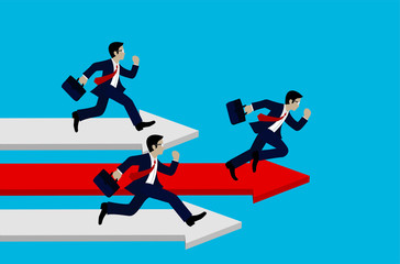 Business Success concept. Businessman running on the arrow red and white. Move forward to the goal. leadership. modern ideas And to corporate . competing to destination. illustration. paper art