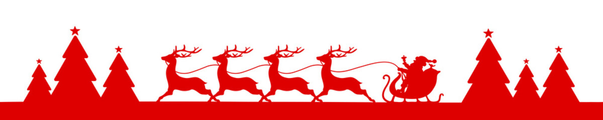 Banner Christmas Sleigh Forest Red