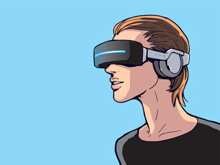 virtual reality headset in use illustration vector
