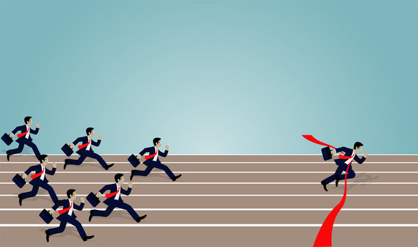 Businessmen race rush to the finish line, red and torn. success in business. leadership. Winner. Concept business illustration