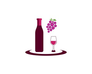 Wine icon logo template vector