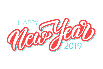 Happy New Year 2019 calligraphic lettering text design card template. Creative typography for new year holiday greetings and invitations. Vector illustration.