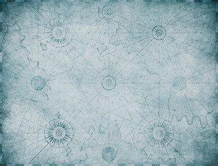 Wall Mural - old blue nautical map background