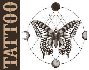 Tattoo school banner with butterfly, triangle geometry, moon phases. Mystical symbol of soul, immortality, rebirth