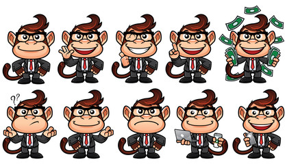 Cartoon monkey in business suit and in 10 different poses, isolated on white background.