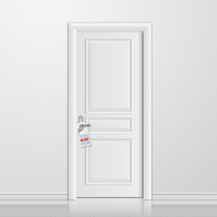 Vector realistic closed white entrance door with do not disturb blank. Interior with door illustration