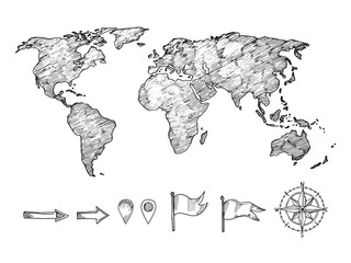 Sketched style world map and navigation elements vector illustration isolated on white