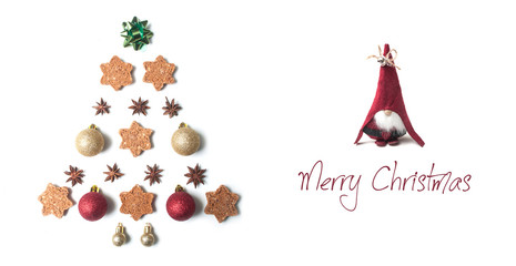 Merry chirstmas card  concept with christmas decorative objects in shaped christmas tree and leprechaun