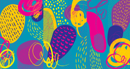 Creative doodle art header with different shapes and textures. Collage. Vector.