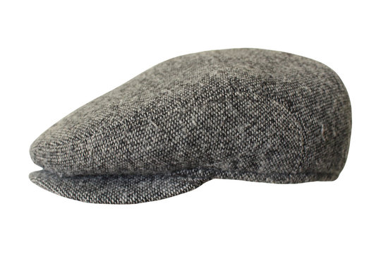 Gray men's woolen cap. Close-up. Isolated object on white background. Isolate.