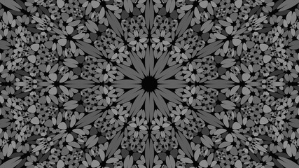 Grey stone mosaic mandala pattern wallpaper design - symmetrical abstract vector background illustration