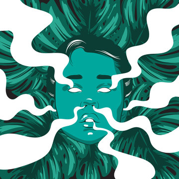 Vector hand drawn illustration of girl with smoke from ears, eyes, nose, mouth and palm leaves. Template for card, poster, banner, print for t-shirt.