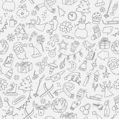 Seamless pattern on new year and Christmas theme with simple hand-drawn theme icons, dark simple outlines on white background