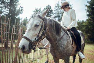 Pretty woman sitting on horse