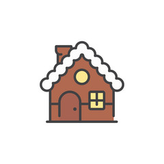 Gingerbread house icon in flat style isolated on white background.