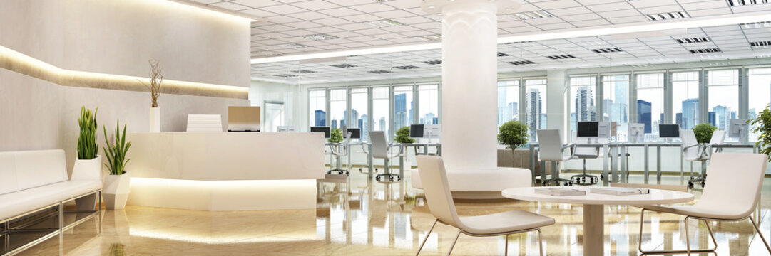 Large office with a reception area