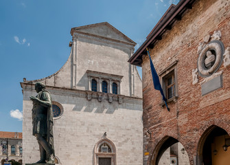The statue of Julius Caesar in Largo Boiani in Cividale del Friuli, Udine, Friuli Venezia Giulia, Italy