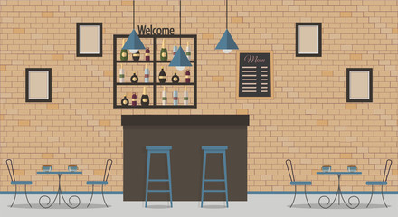 Interior of loft style cafe or bar. Bar counter, tables, different chairs and shelves with alcohol bottles. Blackboard with menu and paintings. Vector flat illustration