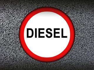 Diesel Skandal Schild mit Asphalt