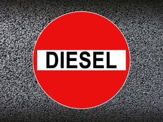 Diesel Durchfahrt verboten Schild