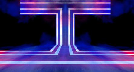 Dark background, tunnel. 3D rendering