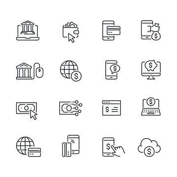Online banking related icons: thin vector icon set, black and white kit