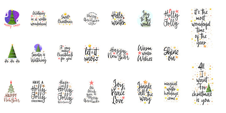 Slogans for the new year. Christmas posters for an interior or for t-shirts. Modern style calligraphy and lettering 3d stars.