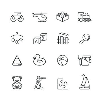 Toy related icons: thin vector icon set, black and white kit