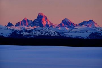 Sunset Light Alpen Glow on Tetons Teton Mountains