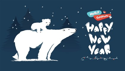 Happy new year and merry christmas funny cartoon vector illustration with bear mom, cub and pine trees.