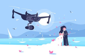 Shooting drone over wedding flat poster