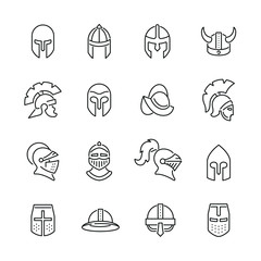Knight helmet related icons: thin vector icon set, black and white kit