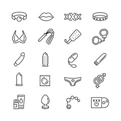 Sex shop related icons: thin vector icon set, black and white kit
