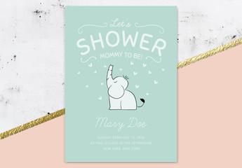 Baby Shower Invitation Layout with Elephant Illustration
