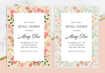 Floral Bridal Shower Invitation Layout