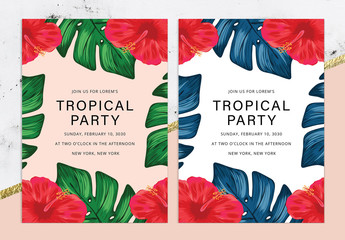 Party Invitation Layout with Tropical Illustrations