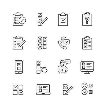 Survey related icons: thin vector icon set, black and white kit