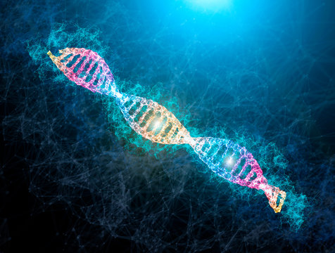DNA shiny neon illustration. medical illustration of DNA strand with light flare. Science genetic concept of DNA chain