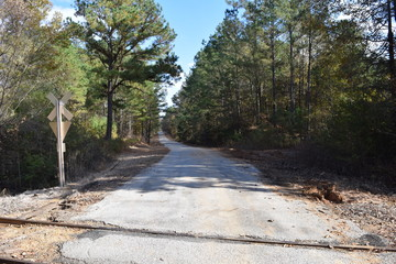 Rural county road near Abbeville in Lafayette County Mississippi