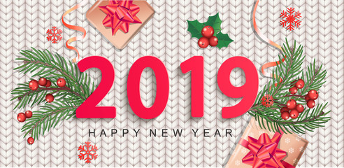 2019 New Year greeting card on knitted background. Banner for Christmas holidays with traditional elements-gift box with red bow, candy cane, branch, ribbon, mistletoe, snowflakes. Vector illustration