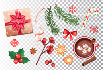 Christmas icons set, traditional decorations-gift box with bow,candy cane,cocoa with marshmallows and cinnamon,spruce branch and gingerbread, ribbon, red mistletoe, snowflakes. Vector illustration.