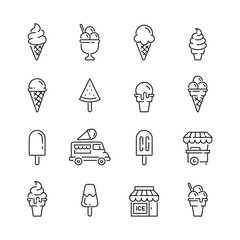 Ice cream related icons: thin vector icon set, black and white kit