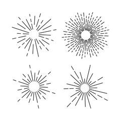 Set of light rays, sunburst and rays of sun. Design elements, linear drawing, vintage hipster style. Light rays sunburst, arrow, ribbon Vector Illustration.