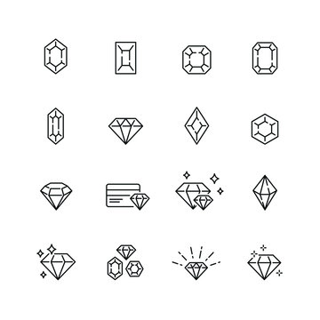 Diamond related icons: thin vector icon set, black and white kit
