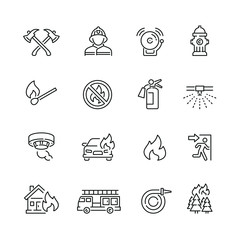 Fire related icons: thin vector icon set, black and white kit